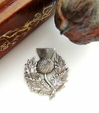 ANTIQUE SILVER Scottish Thistle Flower Stamping ~ Oxidized Finding (FB-6106)