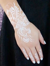 Flash Tattoos WEISS Spitze Hand Finger Henna Art Fake Tattoo Einmal-Tattoos W334