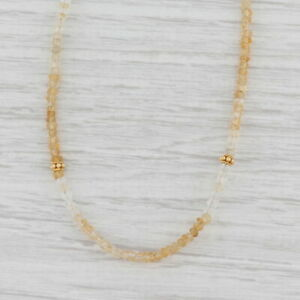 New Nina Nguyen Harmony Citrine Bead Necklace Sterling Gold Vermeil Long Layer