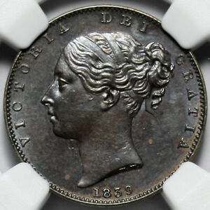 1839 QUEEN VICTORIA GREAT BRITAIN COPPER FARTHING 1/4P COIN NGC MS62 BN
