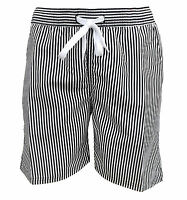 Soul Star Men's Splendor Striped Swim Shorts Black / White