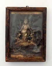Antique Hand Made Hindu Goddess Laxmi Silver Strip Statue Figure Framed