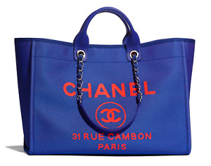 Chanel 21S Deauville Blue Orange XLarge Shopping 30cm 2Way Silver Chain Tote Bag