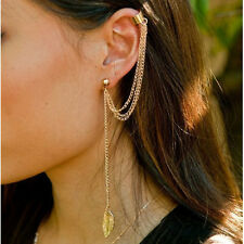 1 Pc Fashion Gold Plated Punk Rock Style Ear Clip Leaf Tassel Ear Cuffs Earrings