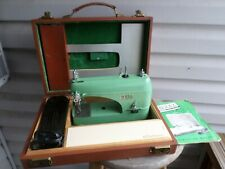 Vintage Bell Portable Compact Sewing Machine in Case w/Foot Pedal & Extras Works