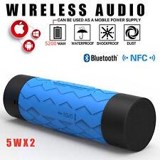 BLUE Waterproof Stereo Wireless Bluetooth 5200mAh Power Bank OUTDOOR SPEAKER 5W