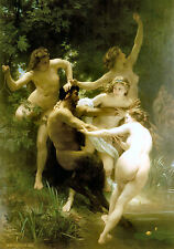 Cotton Canvas Nymphs and Satyr Nudes by William Bouguereau Large Poster Print