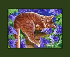 Ginger Cat ACEO Print Lilac Dreams By I Garmashova
