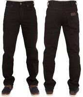 Mens Wrangler Texas Stretch Regular Fit Straight Leg Jeans in Black 30 to 48