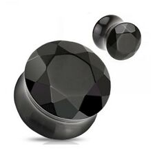 PAIR (2) Gem Cut Black Agate Stone EAR PLUGS Double Flared Faceted GAUGES