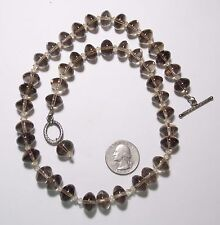 """Striking Brown Transparent Rondelle Glass Bead Necklace, 21.5"""" Long,Toggle Clasp"""