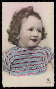 aRT dECO romance 1920s original vintage photo postcard child girl rose lips