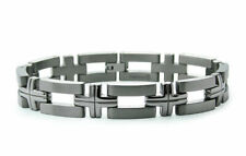 Titanium Grooved Cross Link Contemporary Mens Bracelet 8.5""