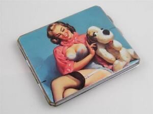 SILVER PLATE & PIN UP PICTORIAL CIGARETTE CASE
