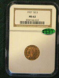 1927 $2.5 GOLD INDIAN QUARTER EAGLE NGC MS62 Plus CAC