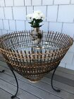 Two 1960s Franco Albini Style Wicker & Glass Side Tables, Fishing Basket Tables