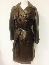 MYCRA PAC BROWN SHIMMERY CROC TEXTURED WOOL BLEND BELTED TRENCHCOAT JACKET M(10)