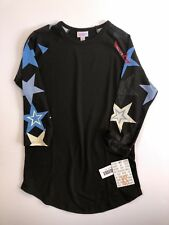 XS Black Lularoe Randy, Solid body with red, white, and blue star sleeves NWT