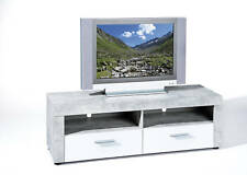 Meuble TV Hifi Vidéo rangement BETON 6.3 2 niches 2 tiroirs gris blanc