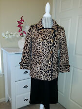 WHITE HOUSE BLACK MARKET Leopard Print Double-Breasted Trench Coat Jacket Sz. 8