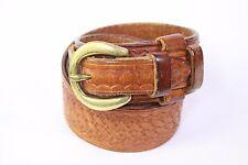 Bianchi tan embossed basket weave overlap tip mens leather belt 32