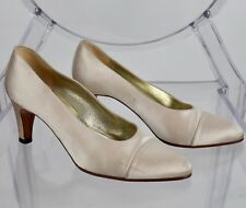 CHANEL sz 36 / US 6 beige taupe silk shoes