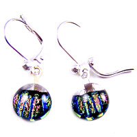 "DICHROIC Glass Earrings Clear Pink Magenta Blue Striped Lever Dangle 1/4"" 9mm"