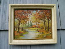 Vintage Fall Scene Painting Mid Century Modern Picture Frame 8 x 10 sgnd Laming