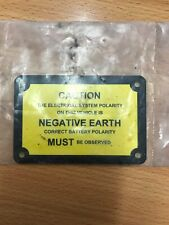 Warning Sticker Caution Negative Earth Nameplate MG Triumph Jaguar