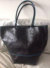 RARE italian leather Nordstrom  handbag Black/Turk. Lining Brand NewWT $399