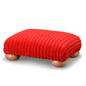 Biagi Upholstery & Design Soft Pile Red Low Footstool with Wood Feet - ON SALE