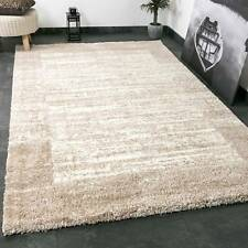 Shaggy Teppich Farbe Beige Creme Extra Flauschig Extra Weich Bordüre Muster