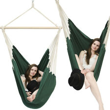 XXL Hammock Seat for 2 people by AMANKA + safety swivel cotton 185x130cm Green