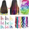 11pcs Long Clip in Hair Extensions Highlight Streaks Rainbow Hair Piece Chrismas