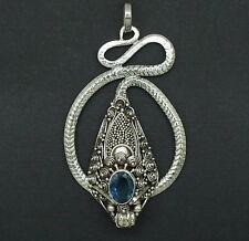 z Designer Gemstone Blue Topaz Bali Dragon Pendant in 925 Silver Vintage