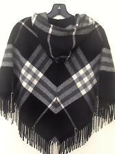 BURBERRY PONCHO w/hood WOOL/CASHMERE BLACK GREY FRINGE Hidden ZIP. One size