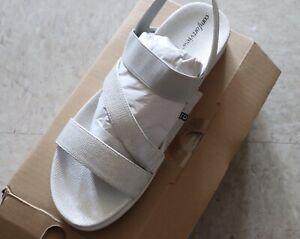 Comfort Plus Women's Open Toe Sm Wedge Elastic Cross Strap Navy Sandals size 13