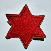 6th Infantry Division Patch: WWII US Army Military Red Star – 6-Sided – WW2
