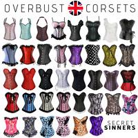 Overbust Corset Top Basque Sexy Steel Boned Bustier Fancy Dress Waist Trainer UK
