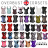 Overbust Corset Top Basque Sexy Steel Boned Bustier Fancy Dress Waist Trainer UK