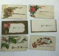 Victorian Calling Card Lot of 6 ANDERSON Flowers Bird Poetry