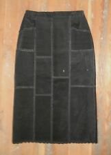 Vtg KROSHETTA Long Black Stitched LEATHER SKIRT Sz Women's XL