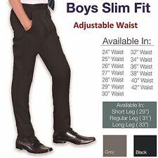 Boys Slim Fit School Trousers Black Grey Navy Pants Skinny Adjustable Waist