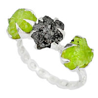 4.83cts Natural Diamond Raw Peridot Rough 925 Silver Ring Size 6.5 R79232