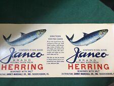 Janco Brand Herring Can Label- Fredericksburg, Va- Nice!