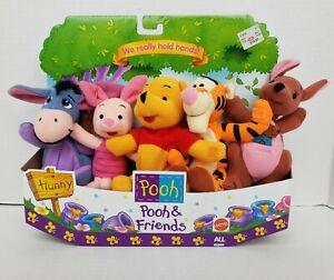Vintage 1997 Mattel Disney Winnie the Pooh & Friends Holding Hands Plush Dolls