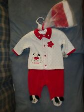 Starting Out Baby Boy Christmas Puppy Outfit Santa Hat 3 months Satin Hanger New