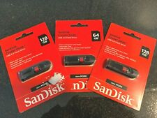 SANDISK 128GB & 64GB CRUZER GLIDE USB 2.0 FLASHDRIVE (Lot of 3)