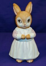 Vintage Bisque Lefton China Figurine Girl Easter Bunny Trinket Box #02742
