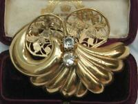 Large UNUSUAL scallope filigree rope design GOLD plate Crystal RHINESTONE brooch